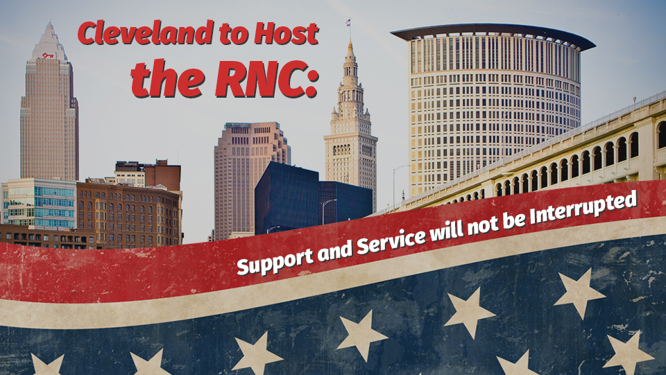cleveland will host the RNC; service will not be affected